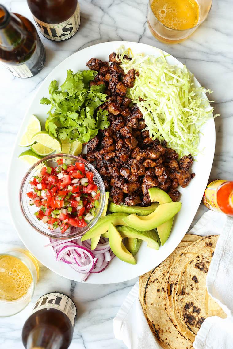 Easy Pork Carnitas - Juicy, tender pork carnitas made in 30 min, start to finish! No fuss, no hassle. Serve as tacos or burrito bowls. So easy, so so good.